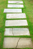 Damaged stone walkway in garden Stock Photos