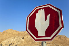 Damaged Stop Sign in the Desert Stock Photography