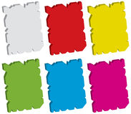 Damaged tag set. 3d damaged tag set isolated on white -  illustration Stock Image