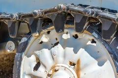 Damaged tank wheels Stock Photo