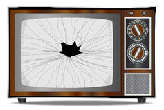 Damaged Television Set. An old wood surround television receiver with a broken screen over a white background Stock Image