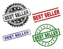 Damaged Textured BEST SELLER Seal Stamps. BEST SELLER seal stamps with corroded texture. Black, green,red,blue vector rubber prints of BEST SELLER label with stock illustration