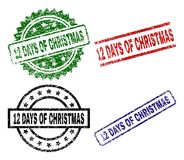 Damaged Textured 12 DAYS OF CHRISTMAS Seal Stamps. 12 DAYS OF CHRISTMAS seal stamps with corroded texture. Black, green,red,blue vector rubber prints of 12 DAYS Stock Illustration