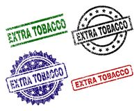 Damaged Textured EXTRA TOBACCO Seal Stamps. EXTRA TOBACCO seal prints with damaged style. Black, green,red,blue vector rubber prints of EXTRA TOBACCO text with vector illustration