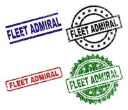 Damaged Textured FLEET ADMIRAL Seal Stamps. FLEET ADMIRAL seal stamps with corroded surface. Black, green,red,blue vector rubber prints of FLEET ADMIRAL tag with royalty free illustration