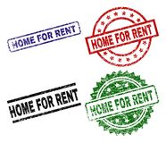 Damaged Textured HOME FOR RENT Seal Stamps. HOME FOR RENT seal stamps with damaged surface. Black, green,red,blue vector rubber prints of HOME FOR RENT caption stock illustration