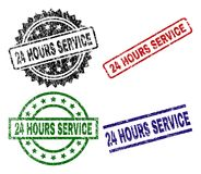 Damaged Textured 24 HOURS SERVICE Stamp Seals. 24 HOURS SERVICE seal prints with distress texture. Black, green,red,blue vector rubber prints of 24 HOURS SERVICE Royalty Free Stock Image
