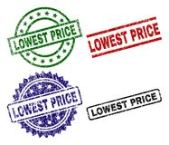 Damaged Textured LOWEST PRICE Seal Stamps. LOWEST PRICE seal stamps with distress surface. Black, green,red,blue vector rubber prints of LOWEST PRICE caption vector illustration