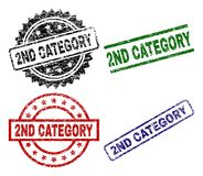 Damaged Textured 2ND CATEGORY Stamp Seals. 2ND CATEGORY seal prints with distress style. Black, green,red,blue vector rubber prints of 2ND CATEGORY title with vector illustration
