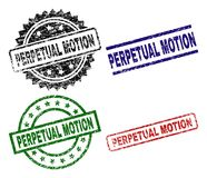 Damaged Textured PERPETUAL MOTION Seal Stamps stock illustration