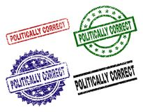 Damaged Textured POLITICALLY CORRECT Seal Stamps. POLITICALLY CORRECT seal prints with damaged style. Black, green,red,blue vector rubber prints of POLITICALLY vector illustration