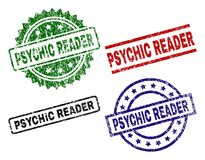 Damaged Textured PSYCHIC READER Seal Stamps. PSYCHIC READER seal prints with corroded style. Black, green,red,blue vector rubber prints of PSYCHIC READER caption royalty free illustration