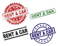 Damaged Textured RENT A CAR Seal Stamps. RENT A CAR seal prints with corroded surface. Black, green,red,blue vector rubber prints of RENT A CAR tag with stock illustration
