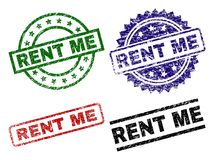 Damaged Textured RENT ME Seal Stamps. RENT ME seal stamps with distress surface. Black, green,red,blue vector rubber prints of RENT ME title with scratched vector illustration