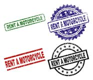 Damaged Textured RENT A MOTORCYCLE Stamp Seals. RENT A MOTORCYCLE seal stamps with damaged style. Black, green,red,blue vector rubber prints of RENT A MOTORCYCLE stock illustration