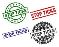 Damaged Textured STOP TICKS Seal Stamps stock illustration