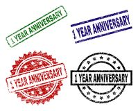 Damaged Textured 1 YEAR ANNIVERSARY Stamp Seals. 1 YEAR ANNIVERSARY seal prints with corroded surface. Black, green,red,blue vector rubber prints of 1 YEAR Vector Illustration