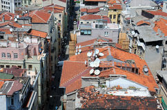 Damaged Tiled Roofs of Istanbul Stock Image