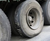 Damaged tire. On wheel of truck Stock Photography