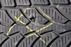 Damaged tyre Stock Image