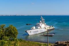 Damaged Ukrainian military boat in Feodosiya, Crimea Stock Photo