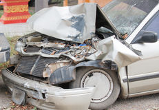 Damaged vehicle after car accident Stock Images