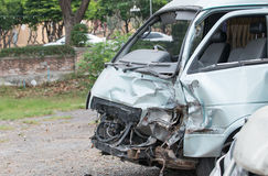 Damaged vehicle after car accident Royalty Free Stock Photos
