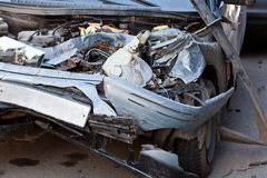 Damaged vehicle after car accident Stock Image