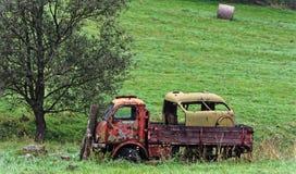 Damaged vehicle near the tree Stock Image