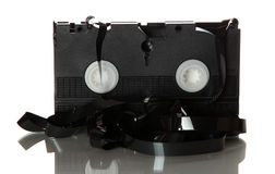 Damaged videotape Stock Photo