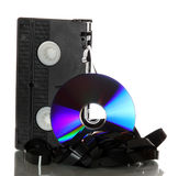 Damaged videotape with dvd Stock Photo