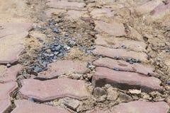 Damaged of walkway bricks floor Royalty Free Stock Photography