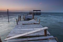 Damaged wood pier Stock Image