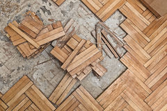Damaged wooden floor Stock Images