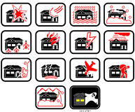 Damages. Property damages or loss insured signs, vector images (ready for cutting machine or printing) as pictogram Stock Images