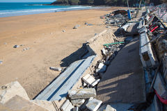 Damages in Lekeitio after hurricane Christine Royalty Free Stock Photo