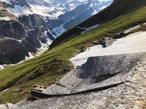 Damages to mountain farms caused by snowy avalanches in the Appenzellerland region Schäden durch verschneite Lawinen. Damages to mountain farms caused by royalty free stock image