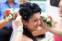 Damas de honra com noiva Imagem de Stock