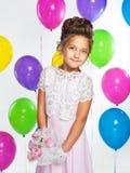 Damas de honra pequenas em vestidos longos Imagens de Stock Royalty Free