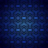 Damas, modèle sans couture noir, bleu neoclassic illustration stock