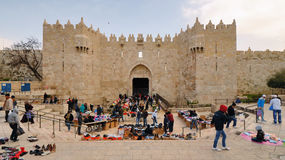 Damascus Gate. In Jerusalem, IL. The current gate was built in 1537 by Suleiman the Magnificent with repairs to the turrets made in 2011 by Israel Royalty Free Stock Photo