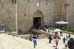 The Damascus Gate into the ancient walled city of Jerusalem Israel royalty free stock photography