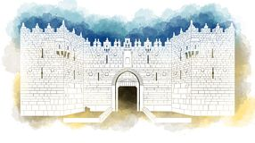 Damascus Gate entrance, Old City, Jerusalem, Israel, hand drawn Stock Photography