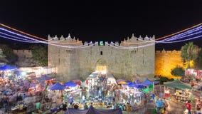 Damascus Gate entrance timelapse Old City Jerusalem Palestine Israel night light long exposure motion blur stock footage