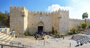 Damascus gate, nord entrance in old part of Jerusalem, Israel Stock Photography