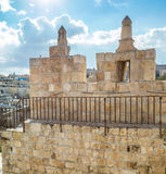 The Damascus gate in the Old City of Jerusalem, Israel. The Damascus gate or Shechem Gate, crenellated parapet of the Damascus gate, inside the tower above the royalty free stock photos