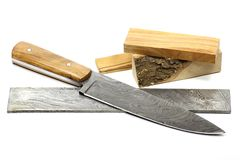 Damascus kitchen knife Stock Photo