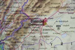 Damascus Map Stock Photography
