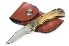 Damascus pocketknife Stock Images