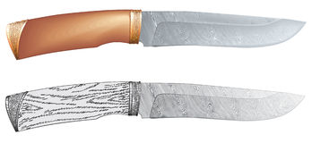 Damascus steel hunting knife vector Stock Images
